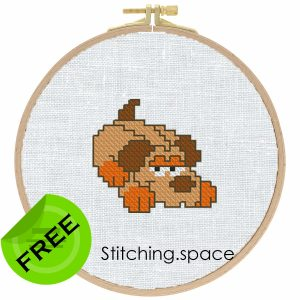 """The free cross-stitch pattern """"Little dog"""" for beginners."""