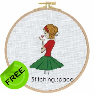 "The free small cross-stitch pattern ""Beautiful Girl"" in modern style. It can be used for gift or cloth decor. It is also suitable for hoop art. Add any custom text and get a personalized pattern."