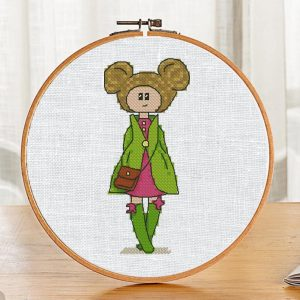 """The cross-stitch pattern book with pretty doll """"Teresa"""". It can be used for gift or cloth decor. It is also suitable for hoop art and bookmarks making."""