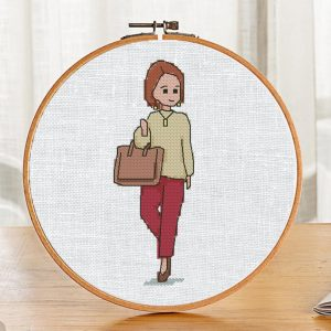 """The cross-stitch pattern book with pretty doll """"Maria"""". It can be used for gift or cloth decor. It is also suitable for hoop art and bookmarks making."""