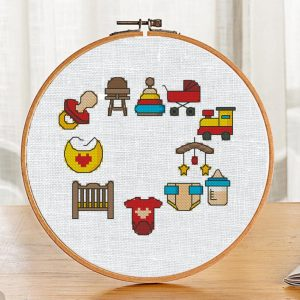The cross stitch patterns set with small and easy baby plots for beginners (11 pcs.). It can be used for baby birth announcement, Baby Shower gift or cloth