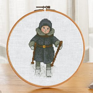 """The cross-stitch pattern with skiing """"Russian Boy"""". It can be used for gift or cloth decor. It is also suitable for hoop art and bookmarks making. Just add any text and get a unique personalized gift."""