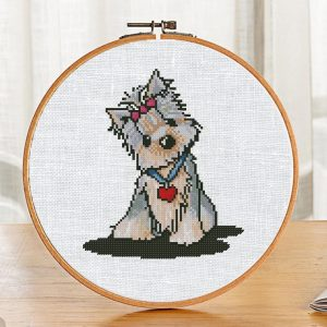 """The free printable cross-stitch pattern """"Yorkie Dog"""" in modern style."""