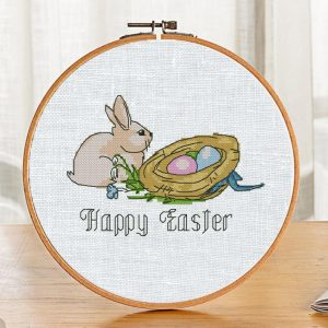 """The free printable pdf cross-stitch pattern """"Rabbit Happy Easter"""" in modern style."""