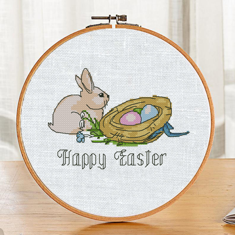 "The free printable pdf cross-stitch pattern ""Rabbit Happy Easter"" in modern style."