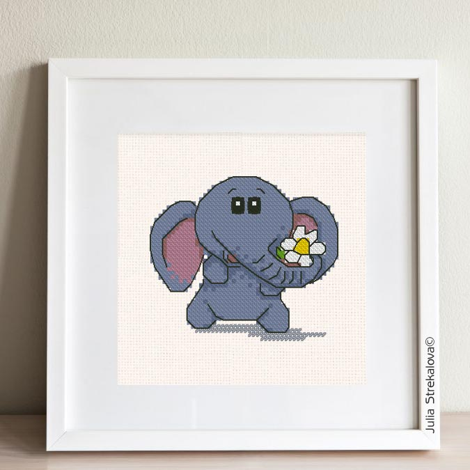 """The free small cross-stitch pattern """"Elephant and flower"""" for beginners."""