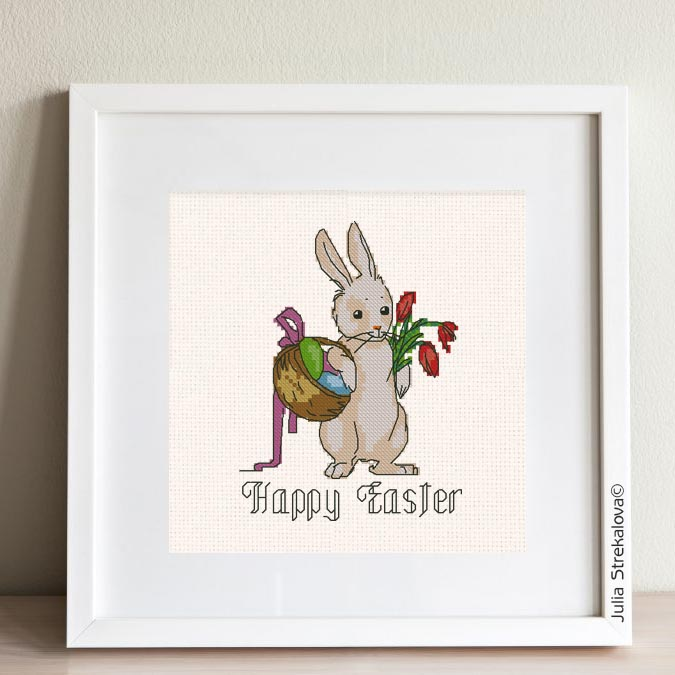 """The free printable pdf cross-stitch pattern """"Easter Bunny John"""" in modern style."""