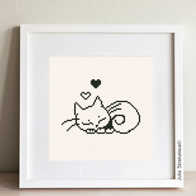 "The free printable monochrome cross-stitch pattern ""Sleeping Cat"" in modern style. It can be used for gift or cloth decor. It is suitable for hoop art. Just add any sign and you'll get a personalized gift."