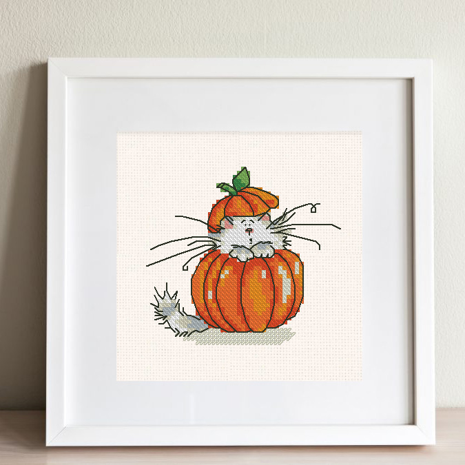 """The free printable small and easy cross-stitch pattern with pretty """"Pumpkin Cat"""" in modern style. It can be used for gift or home decor. It is suitable for hoop art."""
