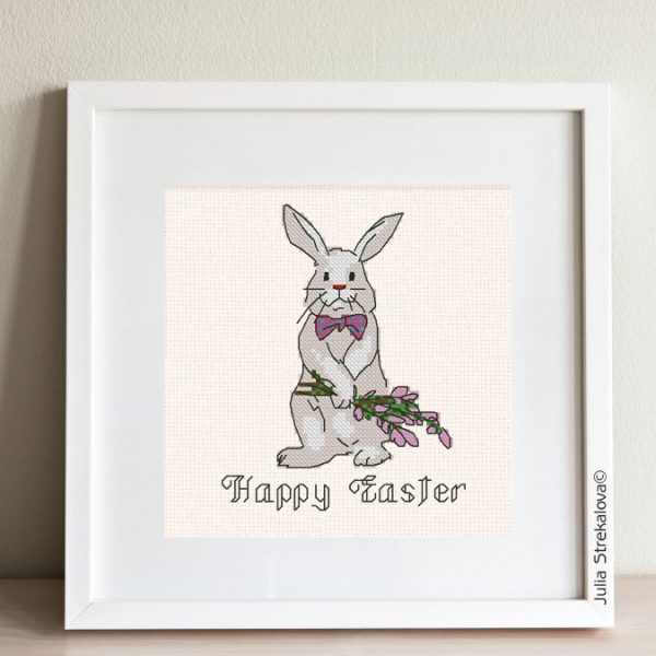 """The free printable pdf cross-stitch pattern """"Easter Bunny David"""" in modern style."""
