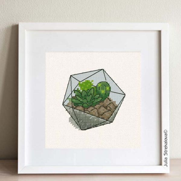 "The free small cross stitch pattern ""Florarium Cactus""."