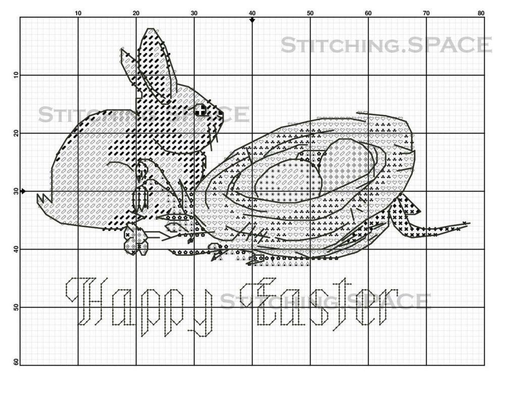 """Rabbit Happy Easter"" new free cross stitch pattern."
