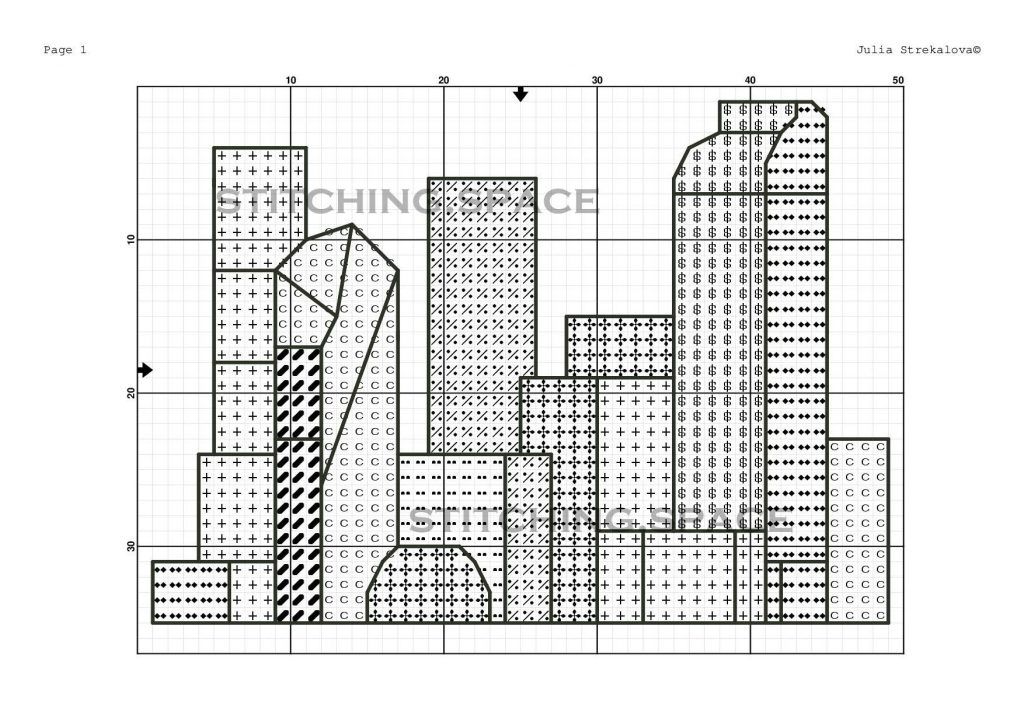 """The free small cross-stitch pattern """"City Modern"""" for beginners."""