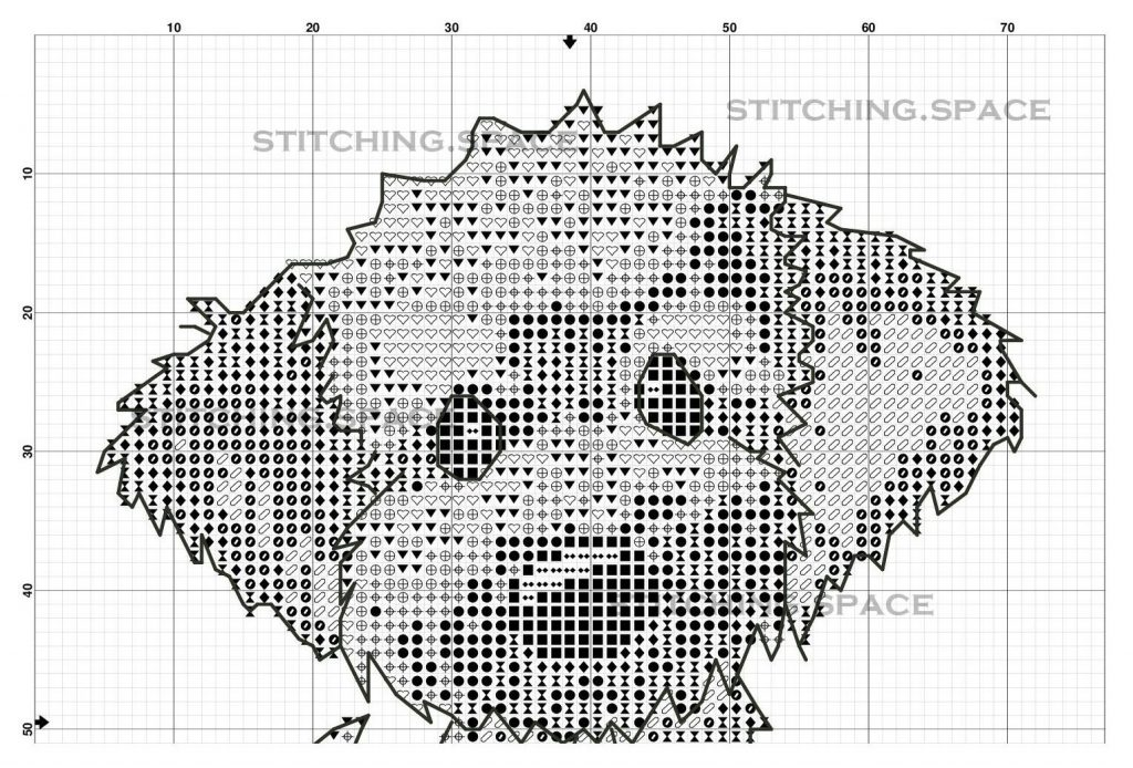 "The free printable cross-stitch pattern ""Dog Blue Pendant"" in modern style."