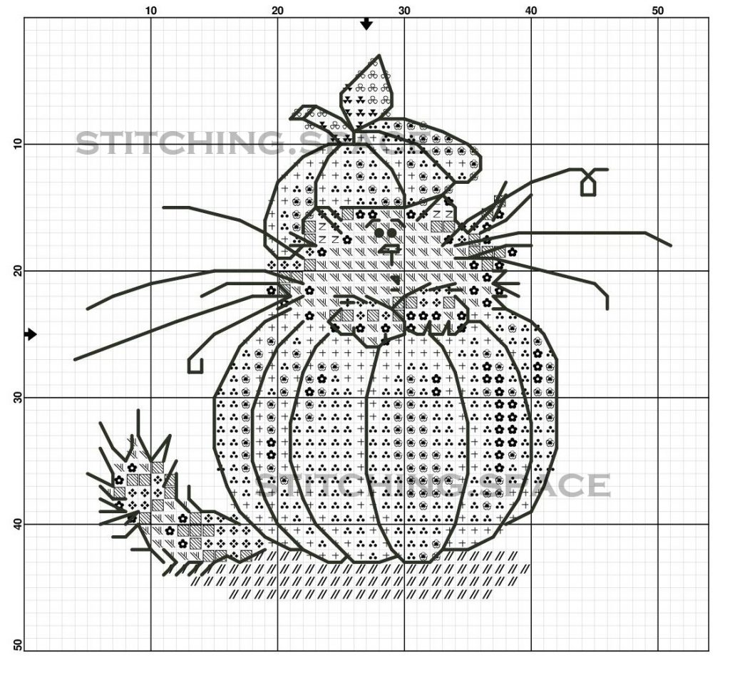 """The free printable small and easy cross-stitch pattern with pretty """"Pumpkin Cat"""" in modern style."""