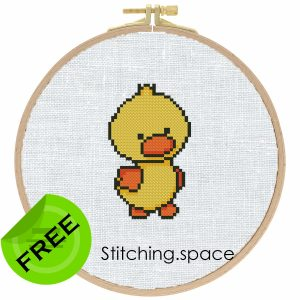 """The free small cross-stitch pattern """"Mini Duck"""" in modern style for beginners."""