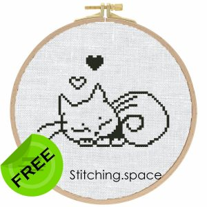 """The free printable monochrome cross-stitch pattern """"Sleeping Cat"""" in modern style. It can be used for gift or cloth decor. It is suitable for hoop art. Just add any sign and you'll get a personalized gift."""