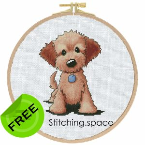 """The free printable cross-stitch pattern """"Dog Blue Pendant"""" in modern style. It can be used for gift or cloth decor. It is suitable for hoop art."""