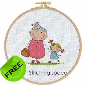 "The free printable pdf cross-stitch pattern ""Grandma"" in modern style."