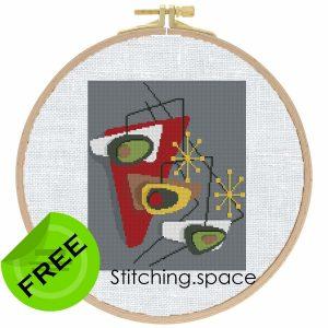 "The free modern cross stitch pattern ""Avocado Modern""."