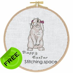 """The free printable pdf cross-stitch pattern """"Easter Bunny Samanta"""" in modern style."""