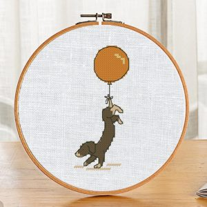 """The free printable small and easy cross-stitch pattern with pretty """"Little Brown Dog"""" in modern style."""