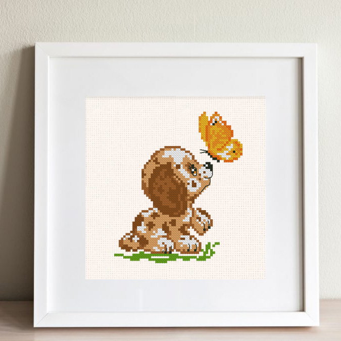 """The free printable small and easy cross-stitch pattern with pretty """"Dog & Butterfly"""" in modern style. It can be used for gift or home decor. It is suitable for hoop art. Just add any text and get a unique personalised gift, e.x., Birth Announcement."""