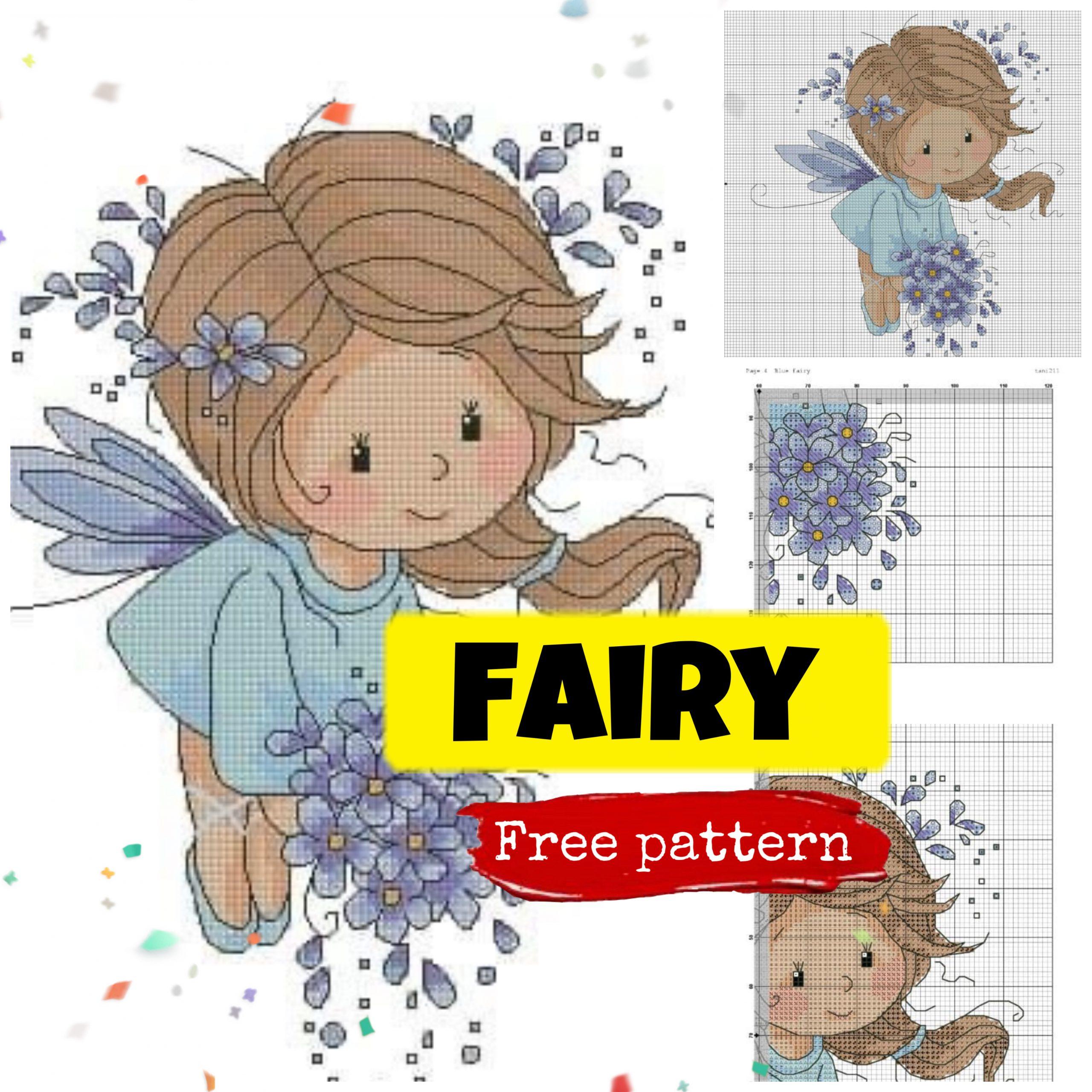 Free Cross Stitch Pattern with Cute Little Fairy