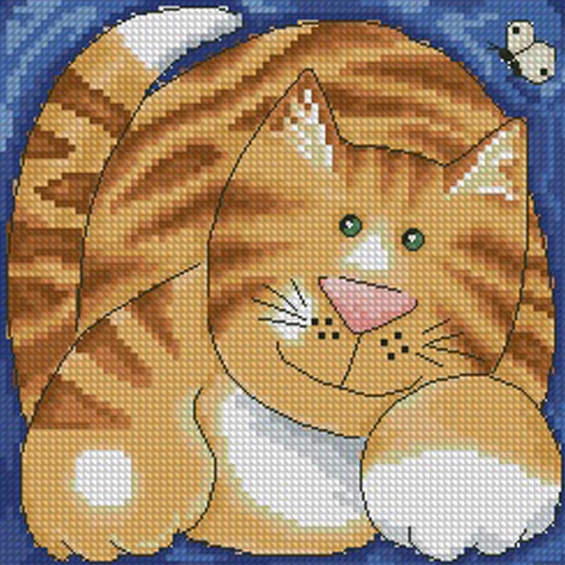 Cross stitch pattern with a ginger tabby cat