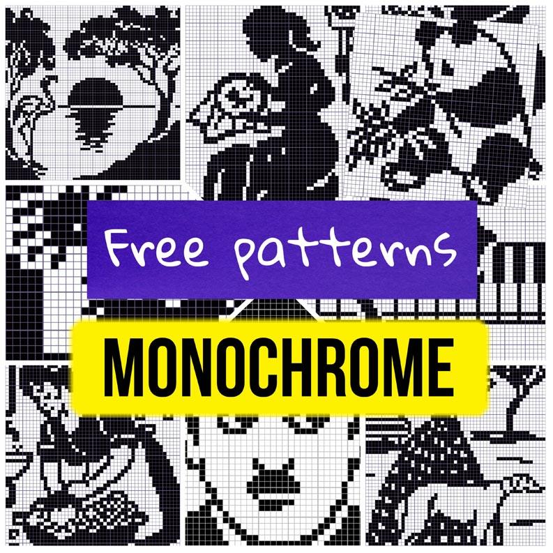 11 free monochrome cross stitch patterns