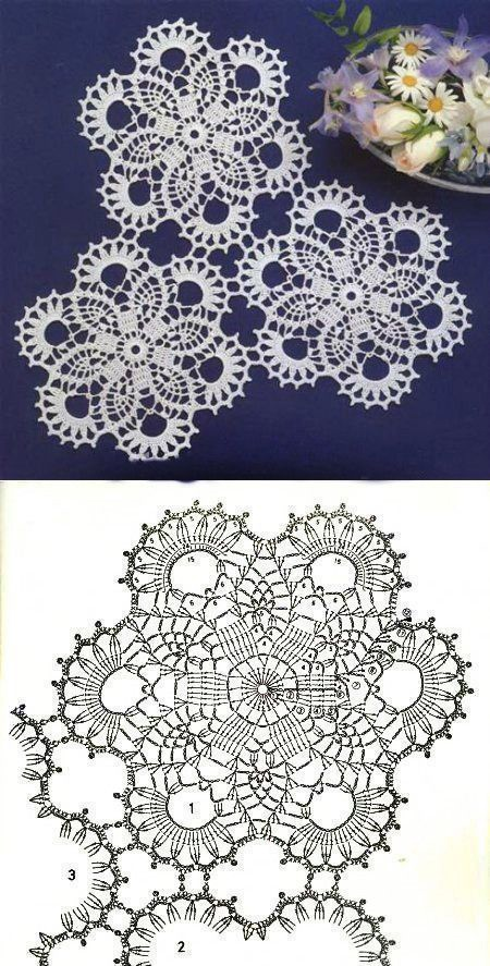 8 Free Daisy Crochet Patterns. Napkins. Charts with Samples