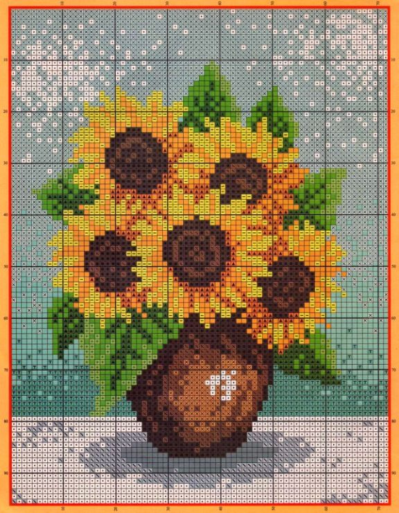 12 free cross stitch patterns with sunflowers