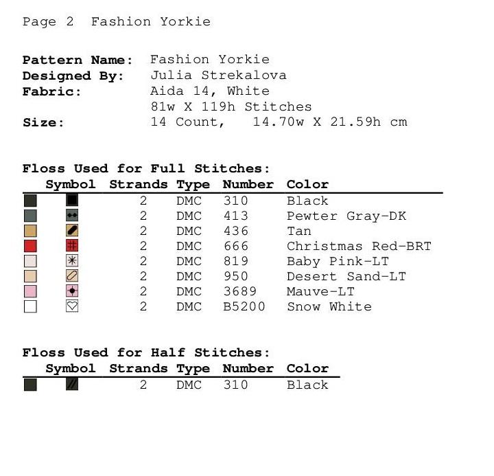 Free Cross Stitch Pattern with Dog, Fashion Yorkie, Animals