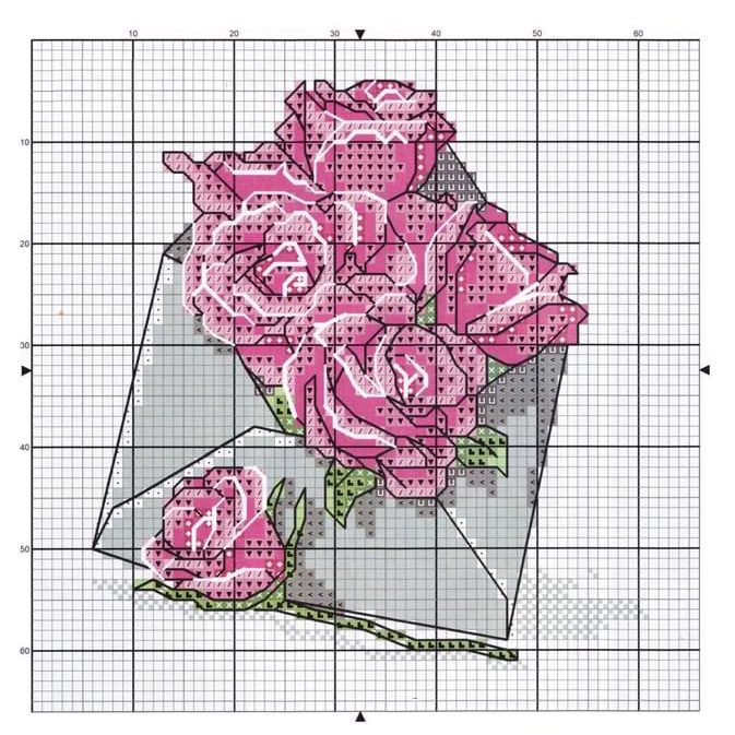 Small and Free Set with Cross Stitch Patterns. Flowers.