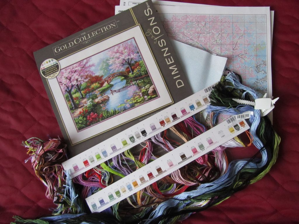 """Dimensions """"Japanese Garden"""" cross stitch kit review"""