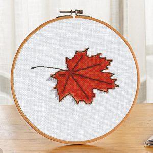 Cross Stitch Pattern Maple Leaf Autumn Fall Halloween Etsy