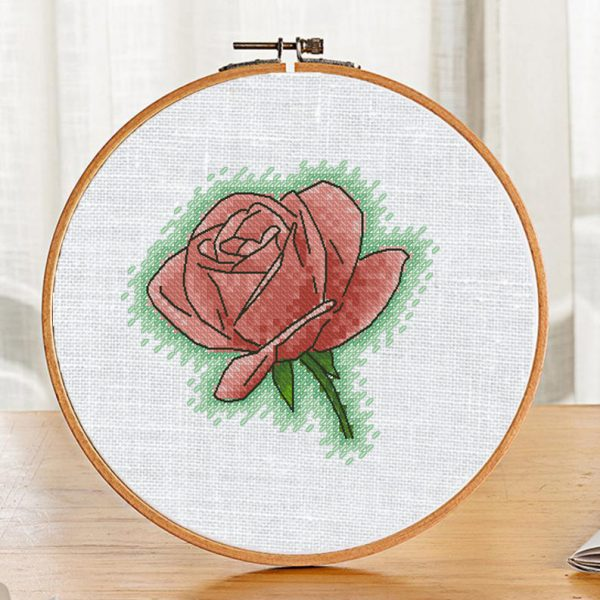 """Cross Stitch Pattern with Flowers """"Single Rose"""" Printable"""
