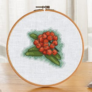 Mountain Ash Berries Cross Stitch Pattern in Autumn style