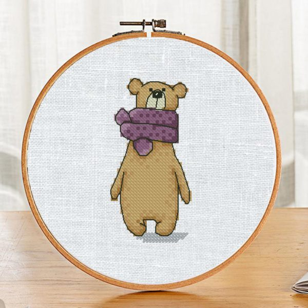 """The cross-stitch pattern with """"Bear in a violet scarf"""""""