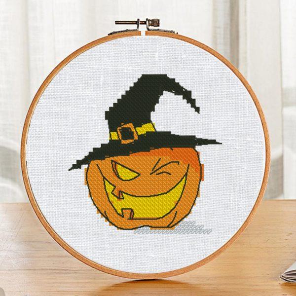 """Halloween Pumpkin"" Small Printable Cross Stitch Pattern PDF"