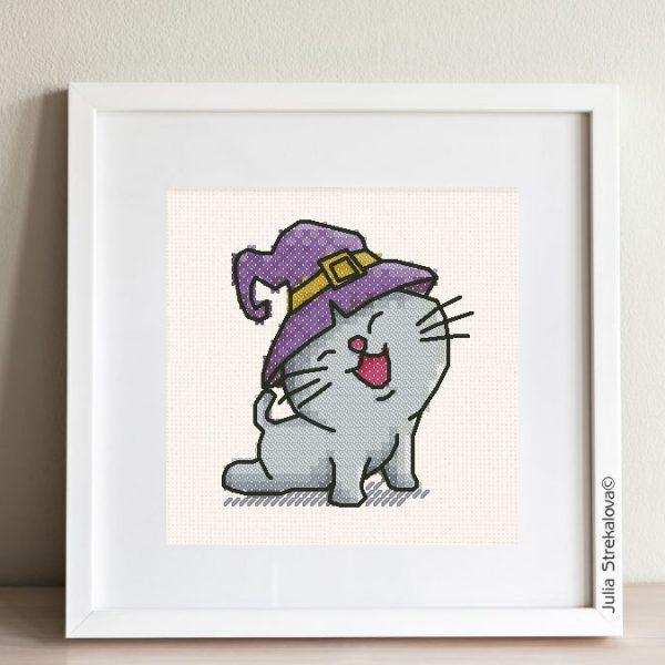 """Halloween cat with a hat"" Small Cross Stitch Pattern PDF"