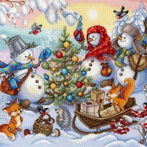 """Friendly snowmen"" Cross Stitch Kit Christmas New Year"