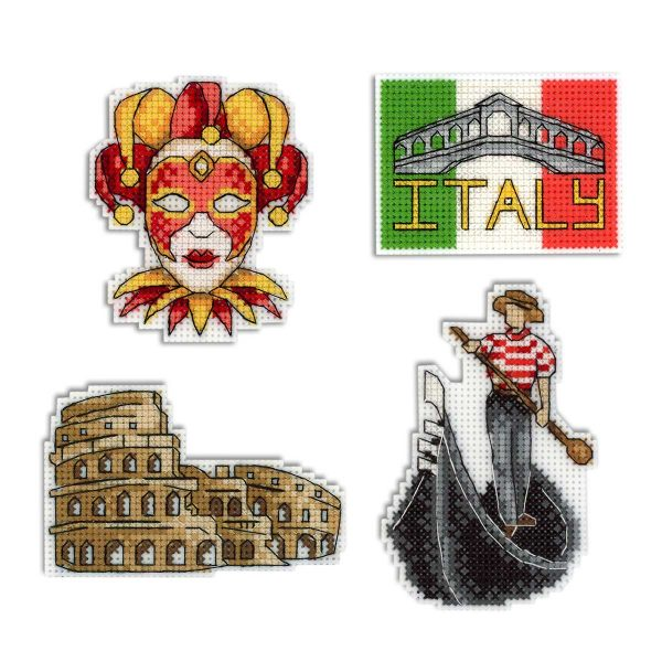 """""""Italy Magnets"""" Small Cross Stitch Kit Countries Cities Easy"""