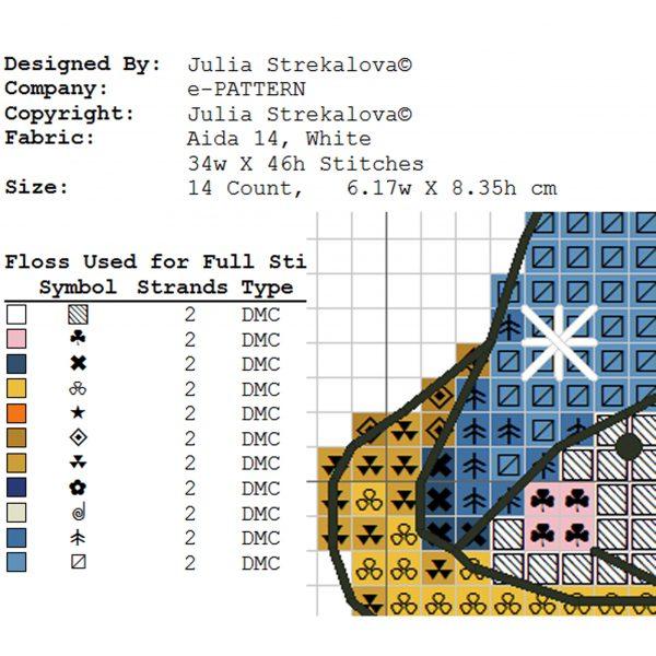 Christmas New Year Cross Stitch Pattern with Snowman PDF