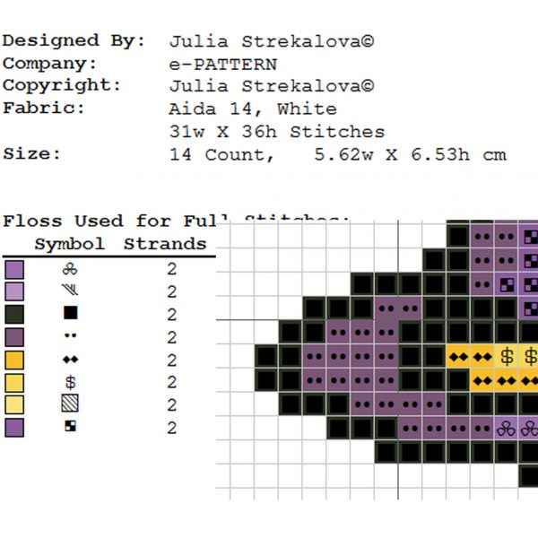 """""""The Witch's Hat Halloween"""" Small Easy Cross Stitch Pattern"""