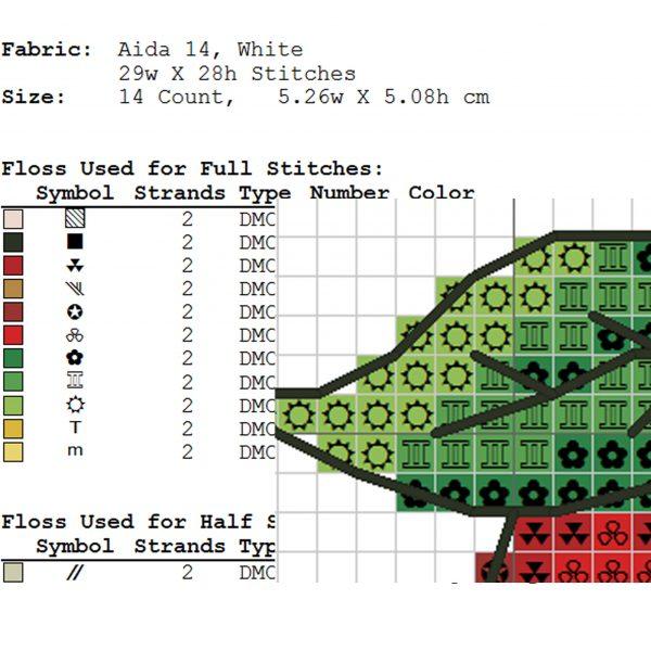 """Read apple"" Small Cross Stitch Pattern PDF for Beginners"