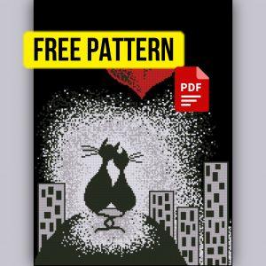 """Cats in Love"" Free Monochrome Cross Stitch Pattern PDF XSD"