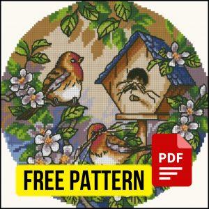 """Little birds"" Small Printable Cross Stitch Pattern PDF XSD"