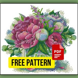 """""""The bouquet of peonies"""" Free Cross Stitch Pattern Flowers"""