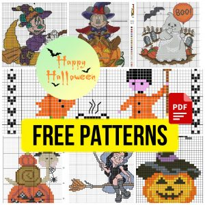 Small and Easy Free Halloween Cross Stitch Patterns PDF